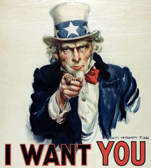 Famoso cartel del Tío Sam, de J. M. Flagg, reclutando soldados para la Primera y Segunda Guerra Mundial