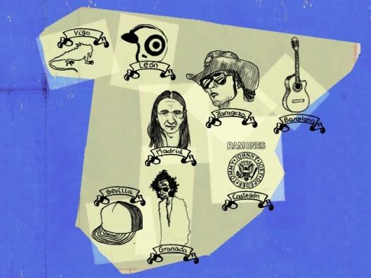 """""""Mapa musical ibérico"""" según la Rolling Stones"""