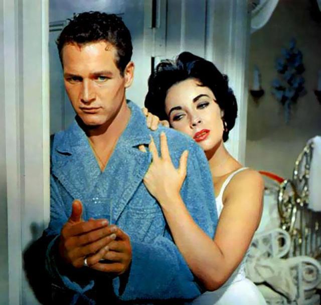 Paul Newman y Liz Taylor en La gata sobre el tejado de zinc, 1958
