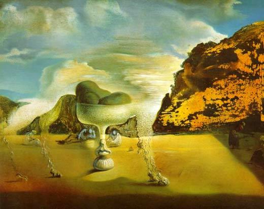 """""""Afgano invisible con la aparición en la playa del Rostro de García Lorca en la forma de un frutero con tres higos"""", Salvador Dalí"""