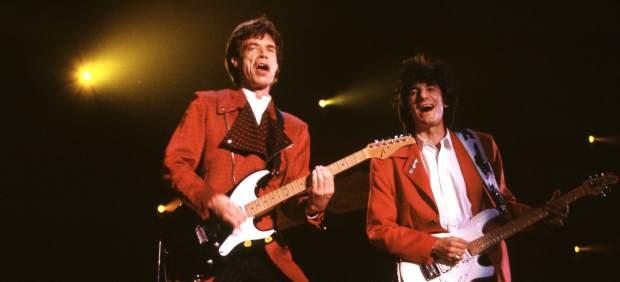 Mick Jagger y Ronnie Wood durante el concierto en Madrid de 1982