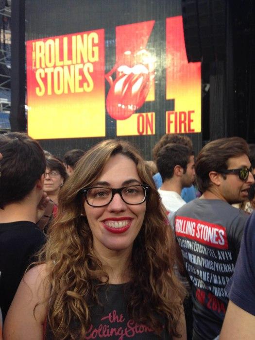 Frente al escenario del concierto