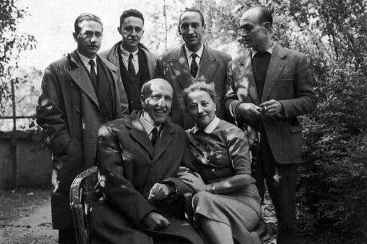 Jardín de Vicente Aleixandre.Medardo Fraile, Claudio Rodríguez, Carlos Bousoño, José Hierro, Vicente Aleixandre y Concha Lagos