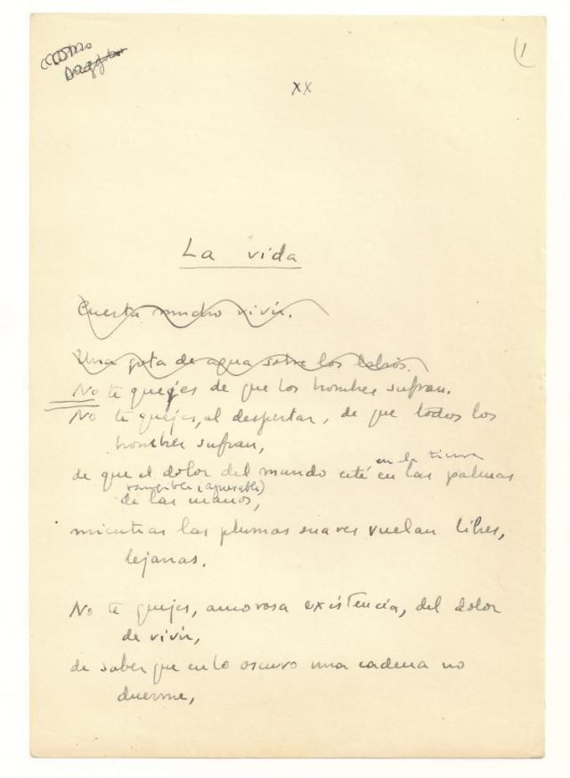 """Manuscrito de """"La vida"""", un inédito de Vicente Aleixandre de los años treinta (Archivo de Alejandro Sanz)"""