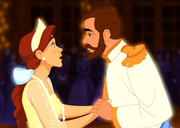 Anastasia y su padre, Nicolás II, en la película de 1997