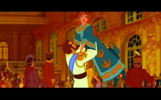 Anastasia Romanov y Nicolás II al comienzo de la película