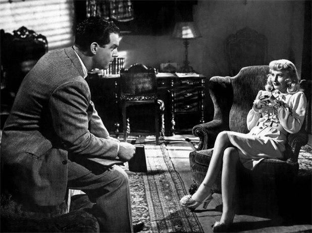 Fotograma de Perdición (1944), de Billy Wilder. En la escena, el vendedor de seguros representado por Ben McMurray negocia con la ambiciosa Barbara Stanwyck
